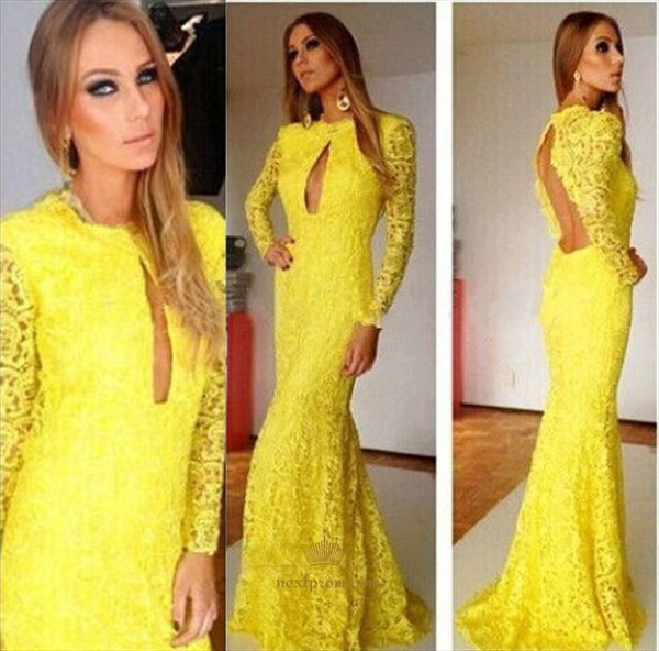 Yellow Long Sleeve Keyhole Back Front Cut Out Lace Mermaid Prom Dress