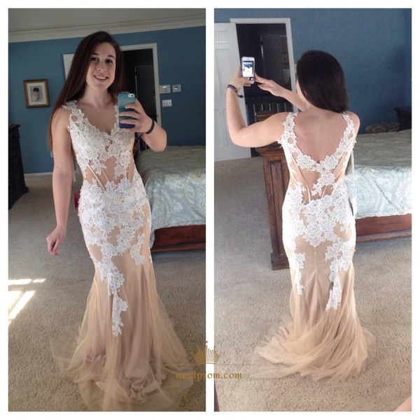 Champagne Sleeveless V Neck Mermaid Prom Dress With Floral Applique