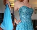 Sky Blue Strapless Sweetheart Beaded Embellished Chiffon Prom Dress