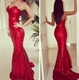 Elegant Red Strapless Sweetheart Neck Sequin Sheath Mermaid Prom Dress