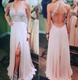 White Halter Lace Bodice Backless Chiffon Prom Dress With Front Split
