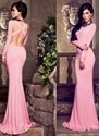 Elegant Pink Long Sleeve Sheath Mermaid Cross Open Back Prom Dress