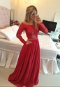 Red Illusion Off Shoulder Long Sleeve Beaded Waist Chiffon Prom Dress