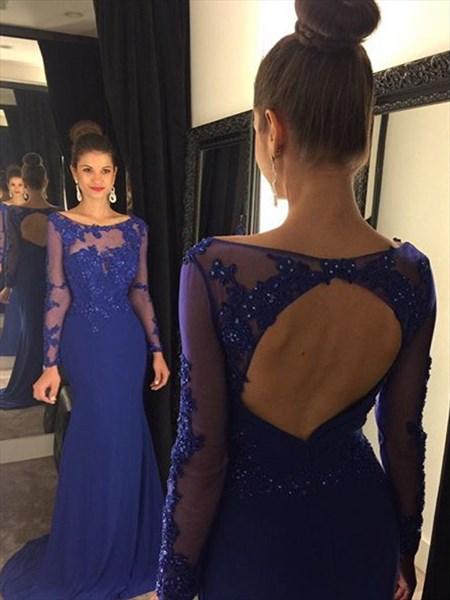 Royal Blue Illusion Lace Beaded Bodice Keyhole Back Mermaid Prom Dress
