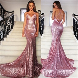 Sexy Pink Sequin V-Neck Spaghetti Strap Backless Mermaid Prom Dress