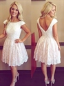 Lovely White Knee Length Cap Sleeve Beaded Bodice Lace Cocktail Dress