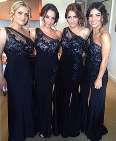 Black One Shoulder Applique Bodice Bridesmaid Dress With Side Split