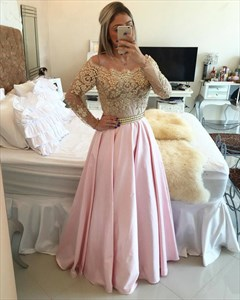 Off The Shoulder Sheer Long Sleeve Beaded Bodice Pink Satin Prom Dress