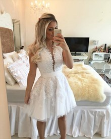 White Sleeveless Tulle Applique Cocktail Dress With Beaded Embellished