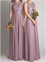 Elegant Purple Sleeveless Applique Boidice Chiffon Bridesmaid Dress