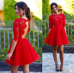 Red Half Sleeve Keyhole Back Lace Bodice Knee Length Homecoming Dress