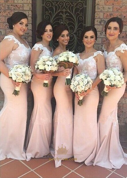 Light Pink Cap Sleeve Lace Applique Bodice Mermaid Bridesmaid Dress