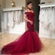 Elegant Burgundy Lace Off The Shoulder Tulle Sheath Mermaid Prom Dress