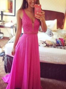 Fuchsia Sleeveless Spaghetti Strap Beaded Bodice Chiffon Prom Dress