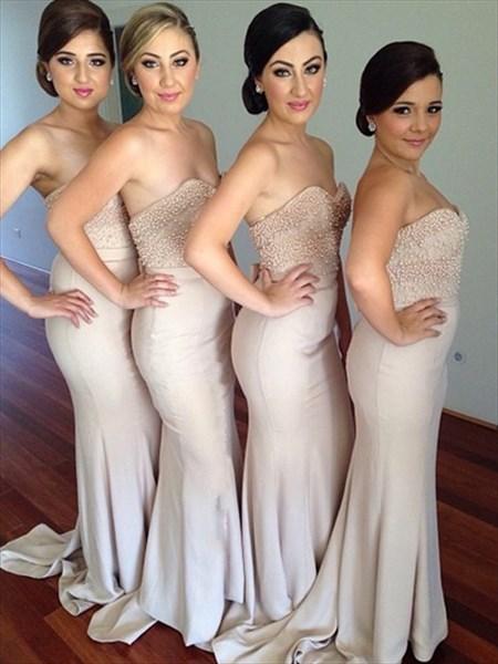 Strapless Beaded Bodice Floor Length Sheath Mermaid Bridesmaid Dress