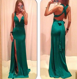 Green Spaghetti Strap V Neck Front Split X Back Prom Dress With Bow