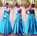 Blue Princess Sleeveless V Neck Empire Waist Floor Length Prom Dress