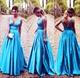 Blue Princess Sleeveless V Neck Empire Waist Floor Length Prom Dress