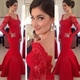 Red Lace Off Shoulder Illusion Long Sleeve Sheath Mermaid Prom Dress