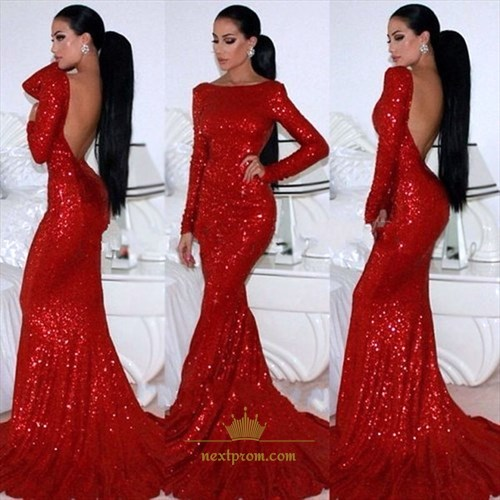 Red Sequin Sheath Mermaid Prom Dress With Long Sleeve And Open Back