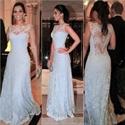 Sleeveless Illusion Neckline Sheer Back Lace Overlay Long Prom Dress