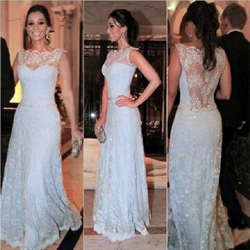 Sleeveless Illusion Neckline Sheer Back Lace Overlay Long Prom Dress
