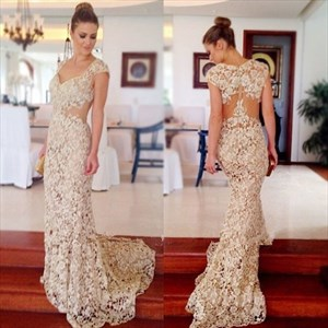 Cap Sleeve Lace Applique Sheath Mermaid Prom Dress With Illusion Back