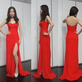 Red Strapless Sweetheart Neckline Chiffon Prom Dress With Side Split