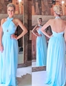 Sky Blue Cross Halter Pleated Bodice Chiffon Prom Dress With Open Back