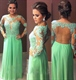 Green Sheer Long Sleeve Applique Beaded Bodice Chiffon Long Prom Dress