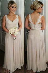 Champagne Sleeveless A Line Chiffon Bridesmaid Dress With Lace Straps