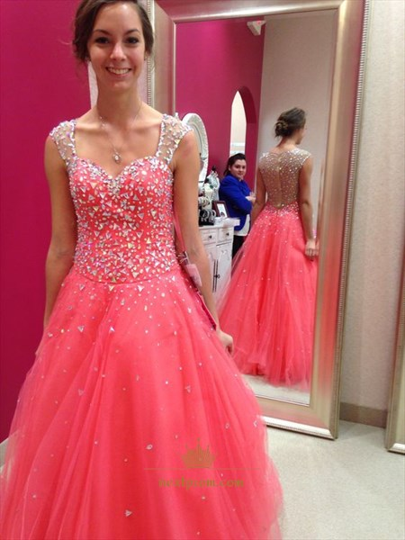 Sleeveless Beaded Embellish Tulle Prom Dress With Sheer Strap And Back