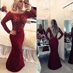Burgundy Off Shoulder Sheer Back Beaded Bodice Lace Mermaid Prom Dress