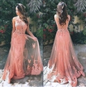 Illusion Pink Sleeveless Open Back Applique Bodice Tulle Prom Dress