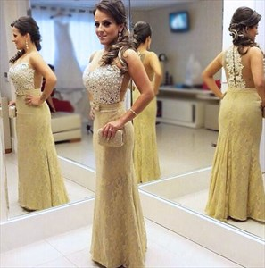 Sleeveless Sheer Floral Applique Beaded Bodice Lace Mermaid Prom Dress