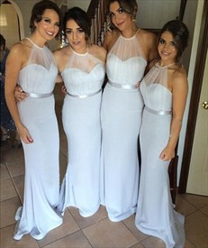 Light Blue Backless Floor Length Bridesmaid Dress With Sheer Halter