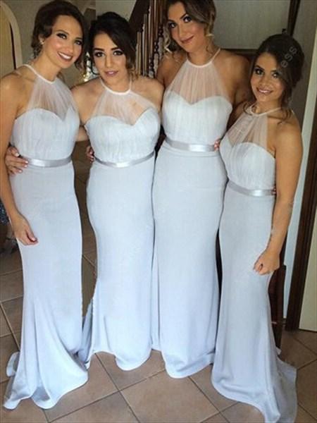 Light Blue Backless Floor Length Bridesmaid Dress With Sheer Halter