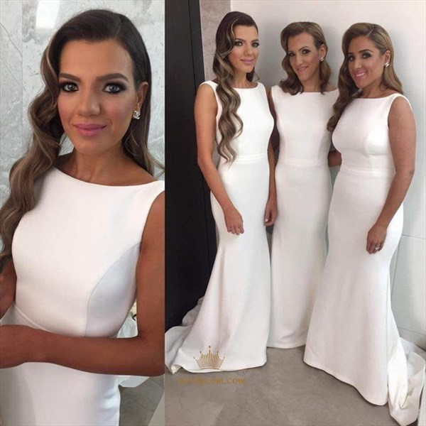 Elegant White Sleeveless Floor Length Satin Mermaid Bridesmaid Dress
