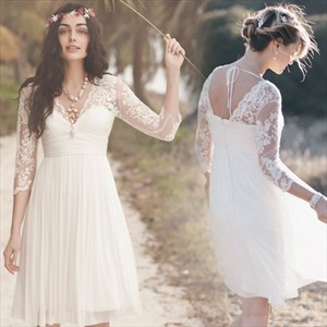 Beautiful White Pleated Chiffon Cocktail Dress With Sheer Lace Bodice