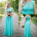 Turquoise Sleeveless Ruched Waist Lace Bodice Chiffon Bridesmaid Dress