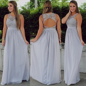 Grey Illusion Lace Neckline Chiffon Bridesmaid Dress With Keyhole Back