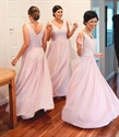 Pink Sleeveless V Neck Chiffon Bridesmaid Dress With Pleated Bodice