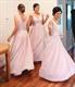 Pink Sleeveless V Neck Chiffon Bridesmaid Dress With Pleated Bodice