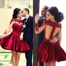 Short Burgundy Sheer Applique Embellished Bodice Satin Cocktail Dress