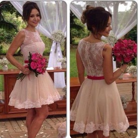 Sleeveless Tulle Skirt Bridesmaid Dress With Illusion Applique Bodice