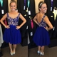 Royal Blue Sleeveless Knee Length Chiffon Dress With Applique Bodice