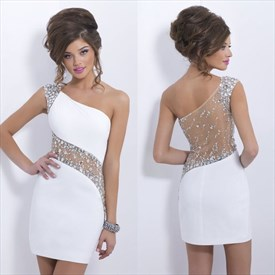 White One Shoulder Illusion Beaded Embellished Sheath Short Prom Dress