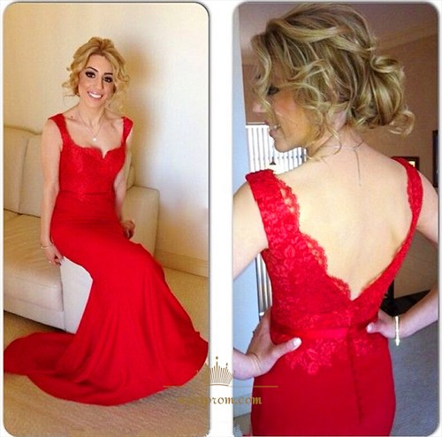 Red Sleeveless Sheath Mermaid Floor Length Prom Dress With Lace Bodice