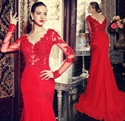 Red Illusion Long Sleeve Applique Bodice Chiffon Mermaid Prom Dress