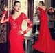 Red Illusion Long Sleeve Applique Bodice Chiffon Mermaid Prom Dress